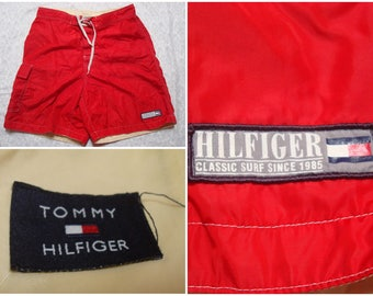 Vintage Retro Men's 90's Tommy Hilfiger Swimsuit Red Surf Classic Trunks Medium 32