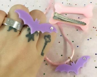 Pastel Goth Lavender Bat Sweet Lolita Pink Bones Gift Set