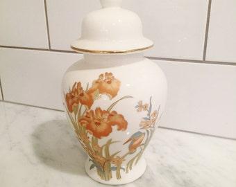 Ginger Jar, Iron Red Jar, Coral Floral Decor, Hand Painted Jar, Porcelain Jar, Chinoiserie