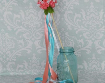 Coral Rose Flower Girl Ribbon Wand - Small