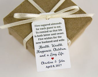 Jordan Almonds Favor Tag - Dragee - Wedding Favor Tag - Almond Wedding Favors - Wedding Favor Labels - Wedding Gifts - 2.25 x 1.25 inches