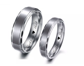 Personalized Men's Stainless Steel Ring, Smooth Comfort Fit Wedding Band Ring Custom Engraved, Promise Ring Enraved Free