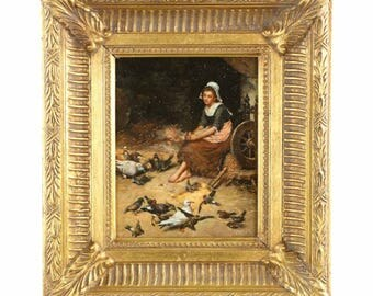 Antique Continental Oil Painting of Maiden in Barnyard with Birds, 19th Century, Signed