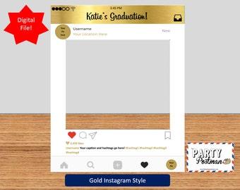Custom Instagram Frame in Gold Photo Booth Prop Instagram Prop (Digital File Only)