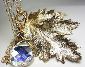 Genuine Chrysanthemum Leaf Pendant Natural Leaf Necklace 24k Gold Leaf Swarovski Crystal Necklace Real Leaf Electroplated Unusual Gift Her