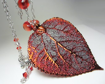 Genuine Aspen Leaf Necklace Aspen Leaf Pendant Copper Electroplated Real Leaf Pendant Red Necklace Nature Jewelry Unusual Gift for Her