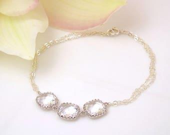 Crystal Bracelet Silver Bracelet Bridesmaid Gift Bracelet Maid of Honor Gift for Bridesmaids Jewelry Wedding Jewelry Bridal Shower Gift