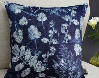 Forest Textures Cushion - Blue and White Botanical Print-Making Velvet Home Accessory from Terrarium
