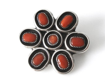 Navajo Coral Sterling Silver Ring Size 6 1/2