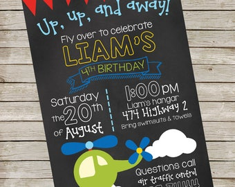 Helicopter Invitation PIY file ~ Helicopter Airplane Party ~ Helicopter Printable ~ birthday party invite digital file