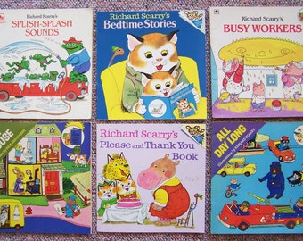 Richard Scarry Book Collection - Lot of 12 Children's Books -  Bedtime Stories, Busy Workers, Things That Go, Please and Thank You Book