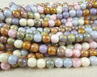 Czech Beads, 6mm Round Beads, 6mm Druk Beads - Pastel Luster Mix (D6/SM-P10) - Qty 50