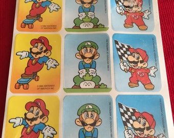Vintage 80s Super Mario Brothers Sticker Sheet Retro Nintendo Sheets Pop Culture