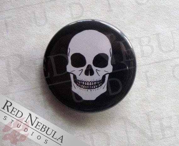 Skull Pinback Button, Magnet, or Keychain, Human Skull Button, Creepy Pin, Grinning Skull Face, Skeleton Button, Macabre Backpack Pin