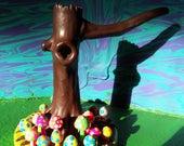 Trippy Hippie Tree Trunk shroom tobacco pipe dark brown! deluxe version top of the line