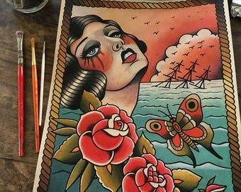 Sea of Widows Tattoo Art Print