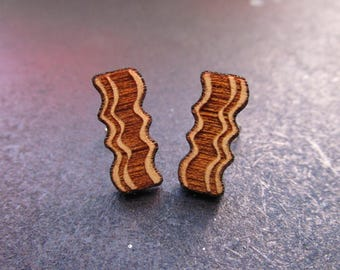 Delicious Bacon Cherry Wood Stud Earrings, Brunch, Breakfast, Hypoallergenic Post