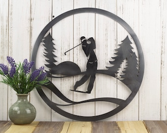 """Golfer Metal Wall Decor   Gift For Him   Golf Gift   Golfer Gift   Wall Hanging   Outdoor   Sign   Wall Art   Fathers Day Gift   17""""W x 17""""H"""
