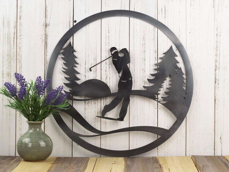 Metal Golf Wall Decor : Golfer metal wall decor gift for him golf