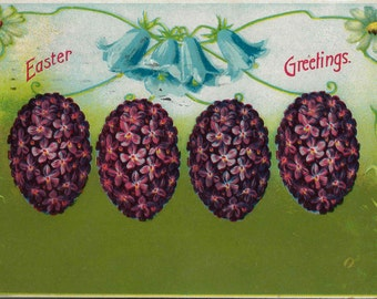 1909 Antique Easter Postcard With Charming Flower Covered Easter Eggs in a Lovely Purple Hue