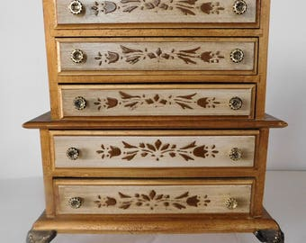 vintage wood JEWELRY MUSIC BOX 5 drawer chest Made in Japan