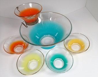 Vintage Frosted Blendo snack bowl set, 7 piece set, Large bowl with rack for dip bowl. 5 individual bowls 1950s 1960s