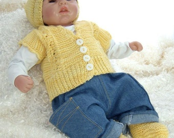 Hand Knit Yellow Baby Vest, Beanie, Booties Set (0 - 6 mos), Baby cardigan, baby sweater, baby girl cardigan, kids gift, baby gift