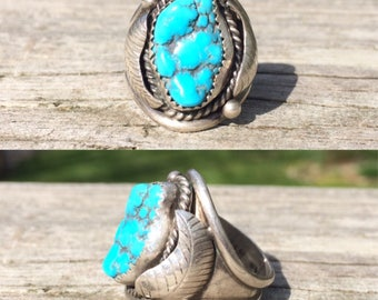 Reserved for Tyler - vintage Native American sterling silver southwestern raw turquoise nugget cigar band men's ring size 9.5