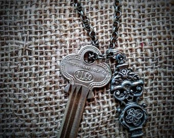 Silver Steampunk Key Necklace