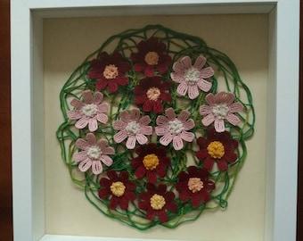 Cosmos flowers - round frame