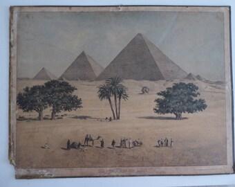Original Antique Pyramids of Giza School chart - Egypt Lithograph Poster 1800s - Leipziger Schulbilderverlag