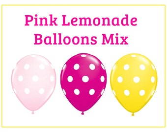 "Pink Lemonade Hot pink Yellow polka dot Print 11"" Balloons birthday party decorations  wedding bridal shower baby shower you are my sunshine"