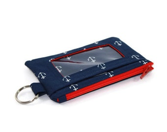 Anchors ID Wallet / Keychain ID Wallet / ID Holder with Zipper Pocket