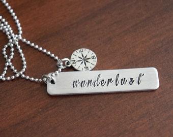 Wanderlust Necklace-Compass Charm