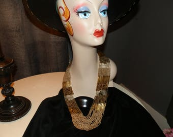 Vintage SUMMER SALE -- Gold Chain Beaded Dressy Necklace Multi-Strands Was 37.95 Now 22.99 Excellent 1980s - Beads Necklace - History House
