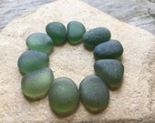 Genuine Sea Glass, High Quality, Beach Stones, Beach Decor, Mosaic Tiles, Elfin, Forest Green, Terrarium Supplies, Gems, Fairy Garden