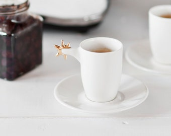 Porcelain espresso cup with plate
