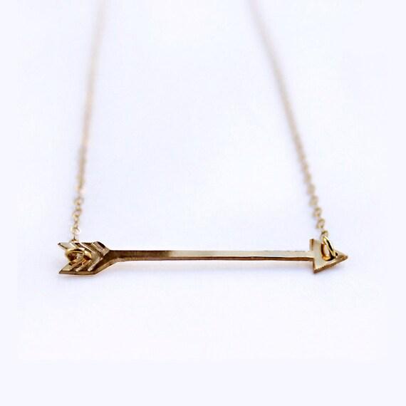 Arrow necklace / Handmade arrow / 14k gold filled or sterling silver / Slim modern arrow necklace / Sagittarius the archer