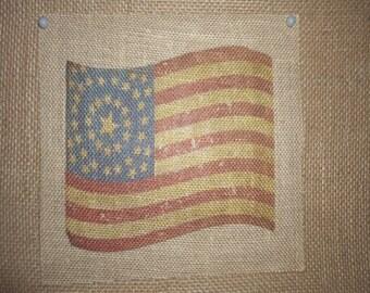 4th of July Rustic Burlap Flag Print