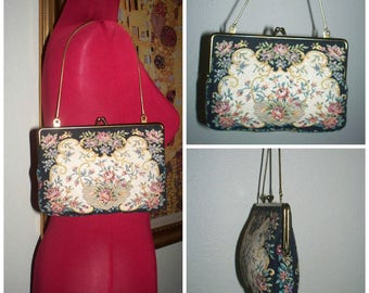 Vintage Floral Petite / Petit Point Needle Point Tapestry Silver Threaded Accented Black W/ Multicolor Evening Purse / Clutch / Handbag