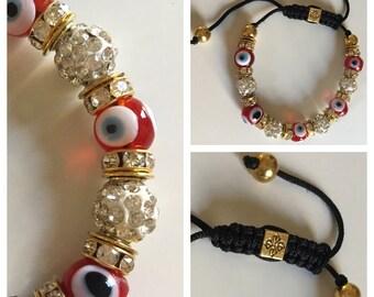 Red Bead Turkish  Evil Eye Bracelet Adjustable Good Luck Bracelet