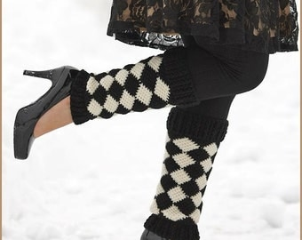 Handmade Crocheted Harlequin Leg Warmers Leg Stockings Boot Cuffs