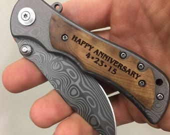 Anniversary Gifts For Men, Happy Anniversary Engraved Pocket Knife, Personalized Gift For BoyFriend, Wood Handle Folding Knife