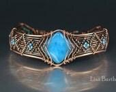 Blue Quartz Copper Woven Bracelet