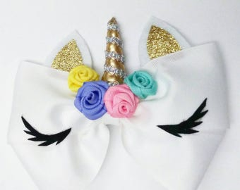 Unicorn hair bow with pastel colors