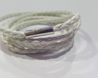 White Handmade Leather Braided Wrap Bracelet