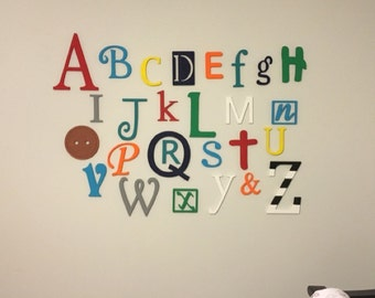 Wooden Letters for Nursery, ABC Sign, Alphabet Letters Set, Baby Nursery Decor, Letters for Wall, Painted Full Alphabet Set Wall Hanging