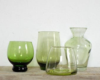 INSTAND COLLECTION small green glass VASES - set of 4 green vintage clear glass vases, flower vase flowervase, flowers bouquet, glassware