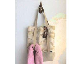 Yoga tote bag & matching pouch, Yoga bag and matching pouch - Miró style yoga bag - cream and tan - 2 pieces set