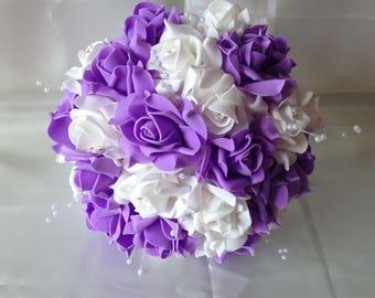 Purple bouquet etsy lavender wedding bouquet white rose bouquet artificial flower bouquet white ribbon pearl wedding flowers junglespirit Choice Image